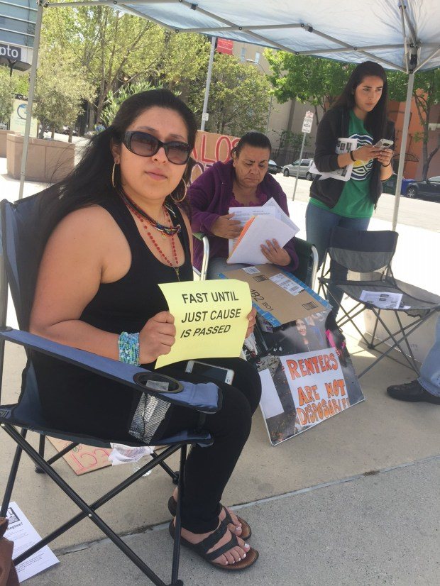 Jocelin Hernandez, 24, started a hunger strike on Friday to call attention to the San Jose City Council meeting on Tuesday when they will be taking up a just-cause renters' protection ordinance.
