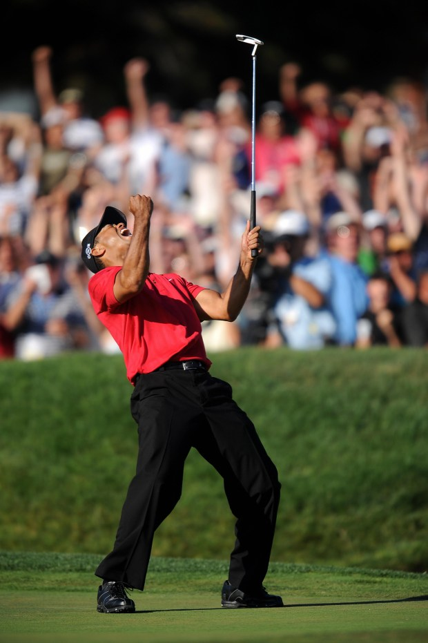 Tiger Woods of the US celebrates his birdie putt on the 18th hole in the fourth round of the 108th U.S. Open golf tournament forcing a playoff with compatriot Rocco Mediate at Torrey Pines Golf Course in San Diego, California on June 15, 2008. (ROBYN BECK/AFP/Getty Images)