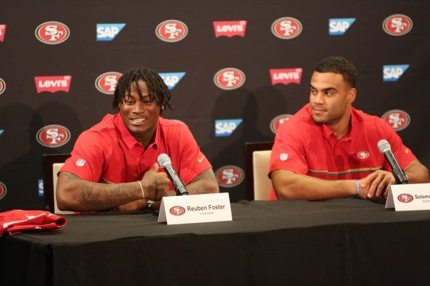Reuben Foster explains what happened when he received a call from the San Francisco 49ers while he was on the phone with the New Orleans Saints. (Courtney Cronin/Bay Area News Group)