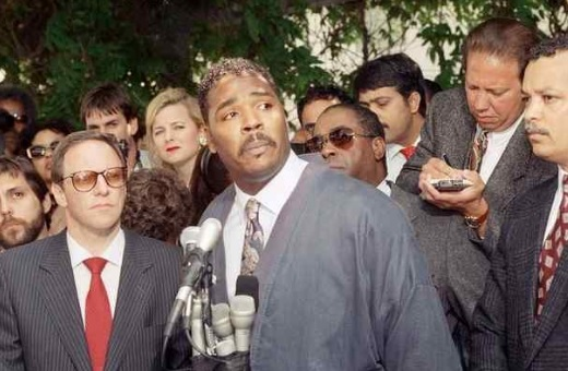 Rodney King makes a statement at a Los Angeles press conference, May 1, 1992, pleading for the end to the rioting and looting that plagued the city following the verdicts in the trial against four Los Angeles Police officers accused of beating him. (AP Photo/David Longstreath)