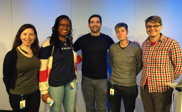 LinkedIn's REACH program participants pose for a photo with the company's CEO Jeff Weiner. (Left to Right) Katie O'Neill, Lyn Muldrow, Jeff Weiner, Aiden Ward and Anka Kondraska. (Photo provided by REACH apprentice Donte Burney)