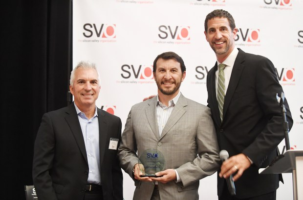 Courtesy The SVO/April 20, 2017Randy Musterer, owner of Sushi Confidential, was recognized as the Small Business of the Year by the Silicon Valley Organization on April 20. With Blach are The SVO Board Chair Dan Bozzuto, left, and President and CEO Matt Mahood.