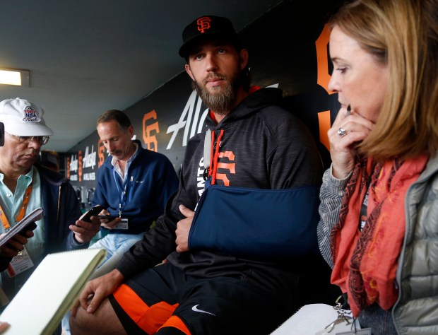 San Francisco Giants starting pitcher Madison Bumgarner (40) talks to the media before their game against the Los Angeles Dodgers at AT&T Park in San Francisco, Calif. on Monday, April 24, 2017. (Nhat V. Meyer/Bay Area News Group)