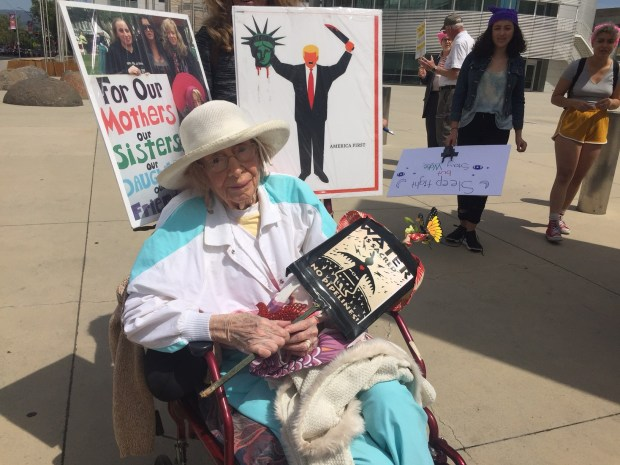 Rosie Doherty Baldasano, a 94-year-old former nurse, joined the tax protest on Saturday demanding President Donald Trump release his tax returns. It was part of a national effort that saw similar actions in 150 cities.