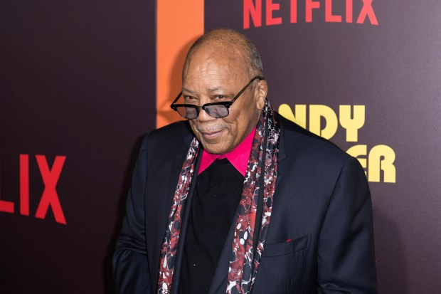 "Quincy Jones arrives at the LA Premiere of ""Sandy Wexler"" at the Arclight Hollywood on Thursday, April 6, 2017, in Los Angeles. (Photo by Willy Sanjuan/Invision/AP)"