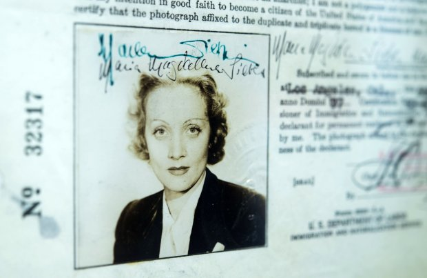 Marlene Dietrich's application for U.S. citizenship is among the items featured. (Hector Amezcua/Sacramento Bee)