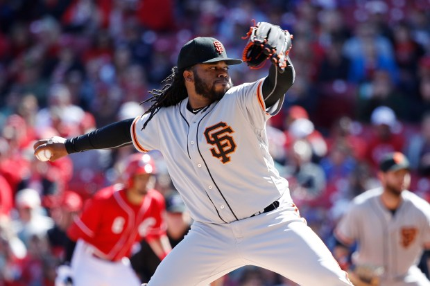 Johnny Cueto #47 of the San Francisco Giants pitches in the first inning of a game against the Cincinnati Reds at Great American Ball Park on May 7, 2017 in Cincinnati, Ohio. (Photo by Joe Robbins/Getty Images)