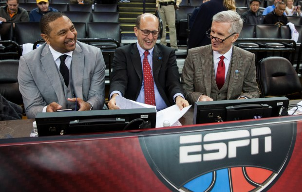 Oakland, CA - December 25, 2015 - Oracle Arena: Mark Jackson, Jeff Van Gundy and Mike Breen prior to the 2015 NBA Christmas Day game(Photo by Peter DaSilva / ESPN Images)