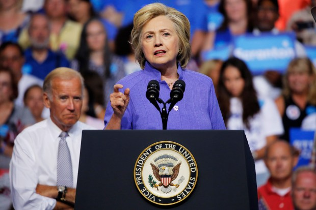 (FILES) This file photo taken on August 15, 2016 shows Democratic presidential nominee Hillary Clinton speaking at a campaign rally with Vice President Joe Biden(L) in Scranton, Pennsylvania.A federal judge has ruled that Democrat Hillary Clinton must respond in writing in a lawsuit over her use of a private e-mail server while she was secretary of state. In a two-page ruling issued on August 19, 2016, Judge Emmet Sullivan declined to order Clinton to testify in person in a case brought by the conservative group Judicial Watch.  / AFP PHOTO / DOMINICK REUTERDOMINICK REUTER/AFP/Getty Images