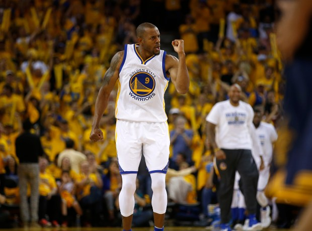 Golden State Warriors' Andre Iguodala (9) celebrates a basket by Golden State Warriors' Leandro Barbosa (19) during their game against the Cleveland Cavaliers in the third quarter of Game 2 of the NBA Finals at Oracle Arena in Oakland, Calif., on Sunday, June 5, 2016. (Nhat V. Meyer/Bay Area News Group)