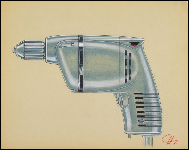 """Garth Huxtable's design for a Millers Falls drill is on view in """"Creativityon the Line"""" and the Cantor Arts Center. (© J. Paul Getty Trust)"""