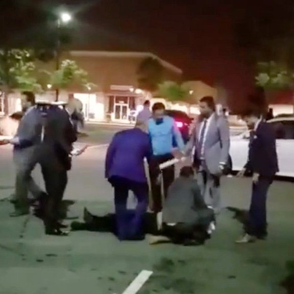 This frame grab was made from a video sent to this news organization by ananonymous source. It appears to show the scene outside a wedding reception early Sunday morning at the Royal Palace Banquet Hall, a venue at 6058 Stevenson Blvd. in Fremont. A wedding attendee told the Bay Area News Group that the video seems to be authentic.