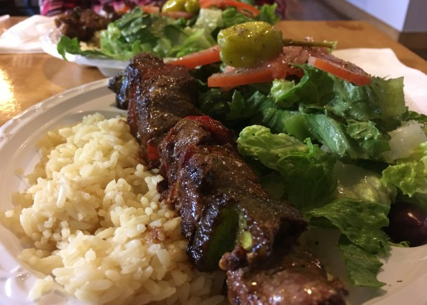 A lamb tenderloin skewer platter is seen at Yanni's Gyros and Burgers in Concord (Daniel M. Jimenez/Staff)