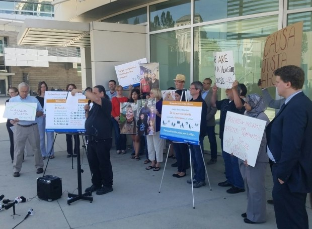 Renters and housing advocates gathered at San Jose City Hall to urge the City Council to enact protections against no-cause evictions immediately