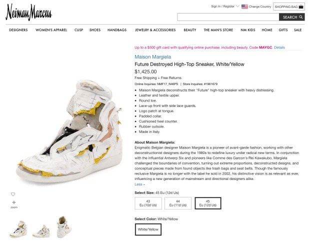 Maison Margiela distressed shoes sold by Neiman Marcus