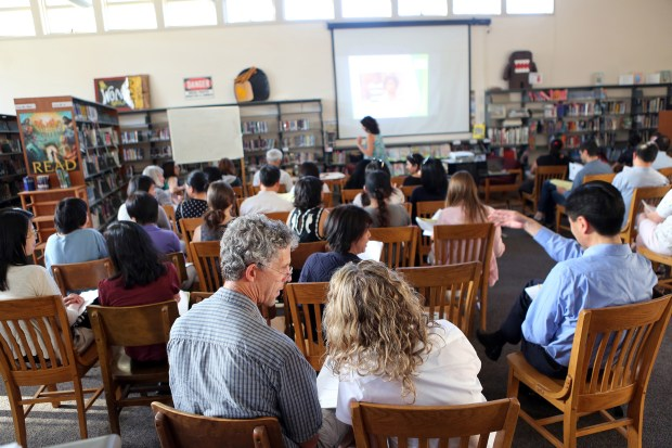 Photograph by George SakkestadSaratoga parents Scott and Nola Schneider participte in group discussion during a Bay Area Communities for Health Education workshop at Redwood Middle School to assist parents with children in the Saratoga Union School District in establishing themselves as their children's main resource for sexual education. The district is currently establishing a new comprehensive sexual education curriculum to align more closely with the California Healthy Youth Act.