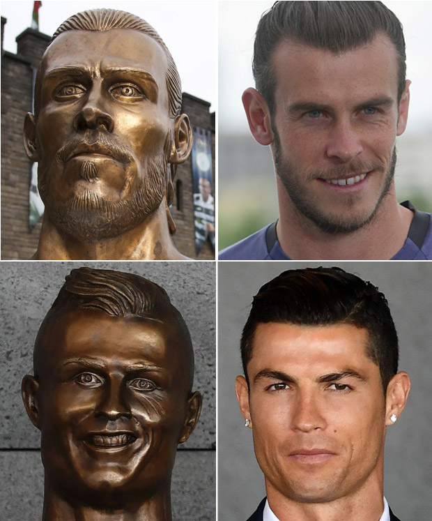 "Portuguese footballer Cristiano Ronaldo stands beside a bust presented during a ceremony to rename Madeira's airport in Funchal as ""Cristiano Ronaldo"", on Madeira island, on March 29, 2017. Airport of Madeira, the birthplace of Portuguese footballer Cristiano Ronaldo, was renamed today in honor of the quadruple Ballon d'or and captain of the Portuguese team sacred European champion last summer. / AFP PHOTO / FRANCISCO LEONGFRANCISCO LEONG/AFP/Getty Images"