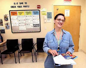 UC Santa Cruz Senior Health Educator Ali Hayes is in the Student Health Center where UCSC offers self-test labs for students. Sexually transmitted disease rates have shot up throughout the county, especially among young people. (Dan Coyro — Santa Cruz Sentinel)