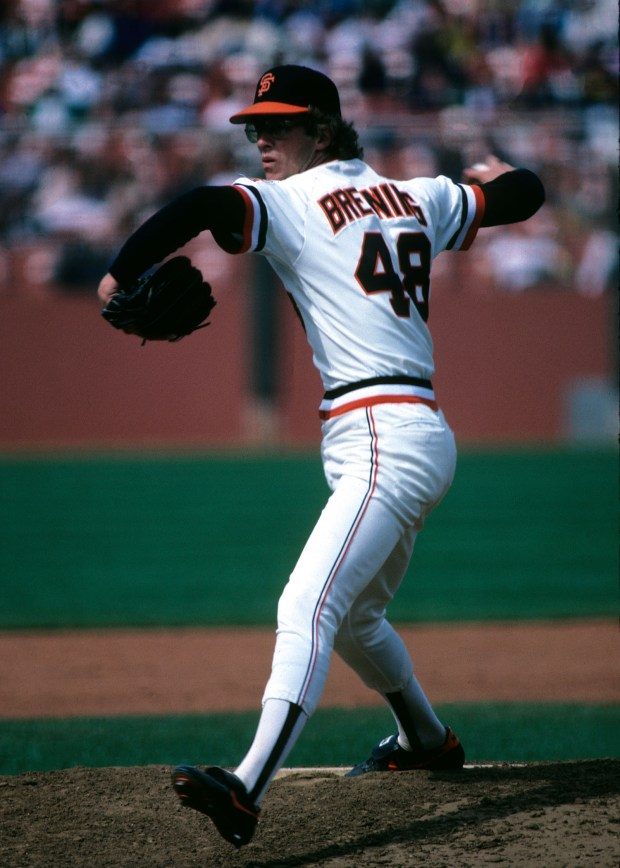 Former Giants pitcher Fred Breining delivers his memorable forkball during a game at Candlestick Park in 1982. (Courtesy: San Francisco Giants)