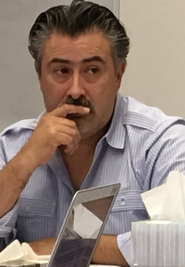 Luis Rojas, CEO of the Southern California-based Del Terra Group, whichoversees construction in the Alum Rock Union School District, attends a May 19, 2017, meeting of the school district committee that serves as the gatekeeper for bond projects. Del Terra receives $2.47 million to manager bond projects in Alum Rock. (Sharon Noguchi/Bay Area News Group)