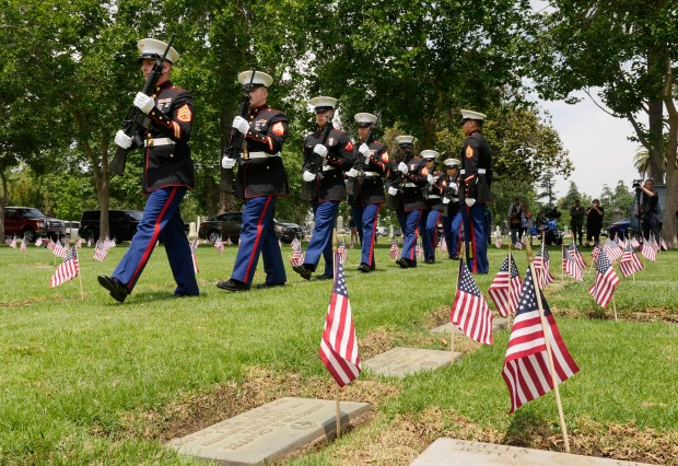 The 23rd Marine Regiment, 4th Marine Division, performs a rifle squad salute during a Memorial Day ceremony honoring veterans at Oak Hill Cemetery on Monday, May 29, 2017, in San Jose, Calif. (Jim Gensheimer/Bay Area News Group)