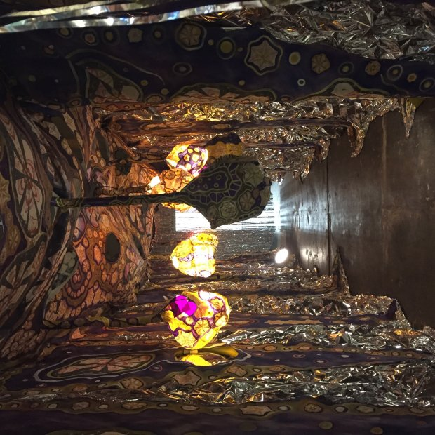 """Artist Laurie Shapiro's mixed-media, fiber art """"cave,"""" called """"Before YouWere Born,"""" will be part of the 40th anniversary celebration at the San Jose Museum of Quilts and Textiles on Sunday, May 7, 2017. (Sal Pizarro/Staff)"""
