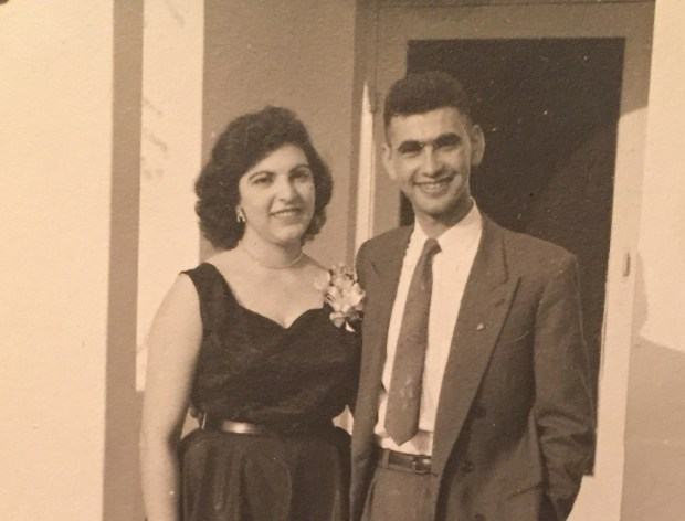Marilyn Altoon Arshagouni and Hagop Arshagouni, the parents of San Jose State University President Mary Papazian, shortly after their engagement int he 1950s.