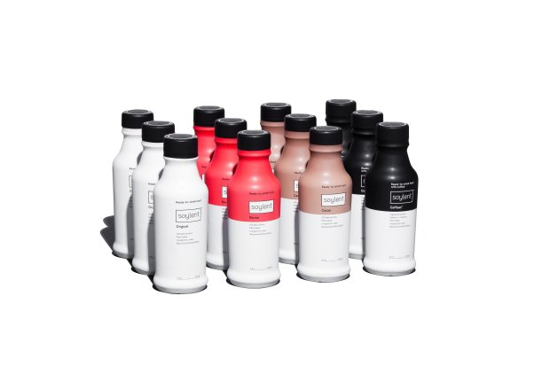 Bottles of meal replacement drink Soylent are displayed in various ready todrink flavors. (Courtesy of Soylent)