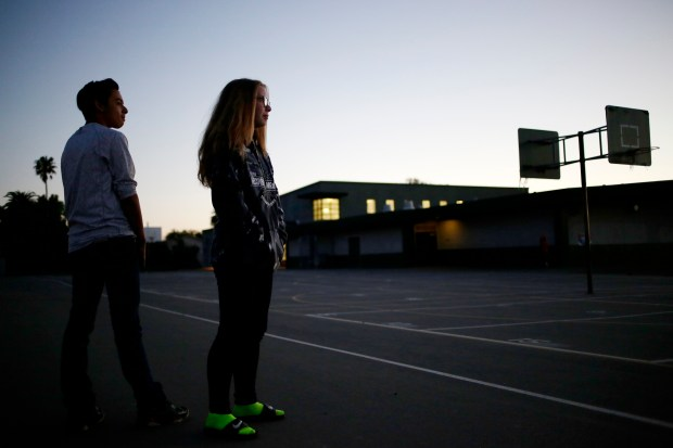 "Eighth graders Jordan Esperanza, 13, and Harlie Brewer,13, attend a workshop on adolescent development and mental health as part of their leadership elective in light of Netflix's suicide saga ""13 Reasons Why"" at Thornton Jr High School in Fremont, Calif., on Wednesday, May 3, 2017. The workshop provides parents with basic knowledge on adolescent development, how to recognize basic warning signs of depression, anxiety and other mental health issues. (Josie Lepe/Bay Area News Group)"