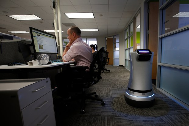 A Relay robot runs an errand at Savioke on Tuesday, May 16, 2017, at their office in downtown San Jose, Calif. (Karl Mondon/Bay Area News Group)
