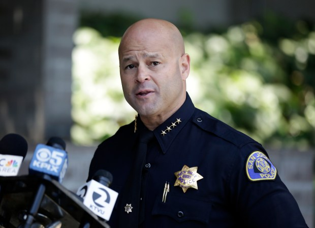 San Jose Police Chief Eddie Garcia speaks during a press conference on an officer-involved shooting early Sunday at the Donner Loft apartments in downtown San Jose, Calif., on Sunday, May 28, 2017. A man was shot and killed as police responded to a report of a disturbance involving a tenant at the apartments. (Josie Lepe/Bay Area News Group)
