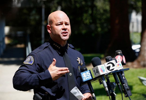 Eddie Garcia, San Jose Police Department chief, talks about the double fatal shooting and officer involved shooting last night during a press conference in San Jose, Calif., on Thursday, May 4, 2017. The suspect in the double homicide was shot by police after a standoff. (Gary Reyes/ Bay Area News Group)