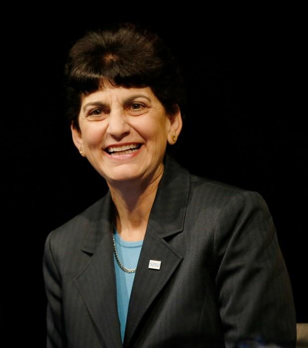 San Jose State University President Mary Papazian at San Jose State University on Friday, May 19, 2017, in San Jose, Calif. (Jim Gensheimer/Bay Area News Group)