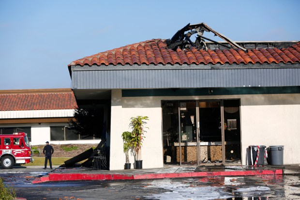 Multiple businesses are damaged from a two-alarm fire in a strip mall on Lakeside Drive in Sunnyvale, Calif., on Tuesday, May 23, 2017. (Gary Reyes/ Bay Area News Group)
