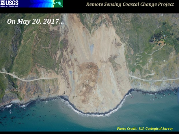 Another view of the Mud Creek landslide, which completely closed California Highway south of Big Sur. (Courtesy U.S. Geological Survey)
