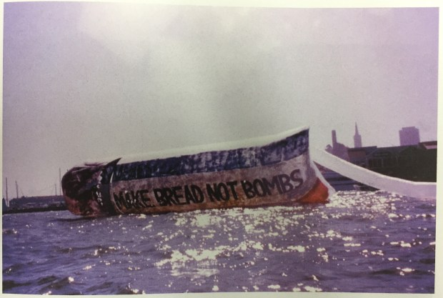 """Make Bread Not Bombs,"" an enormous ""loaf of bread"" artist Richard Kamler created to tow around San Francisco Bay during Fleet Week in 1995. ""His intention was to point out ecological damage to the Bay by the U.S. Navy and the damage to our planet by nuclear testing,"" according to the Peninsula Museum of Art, where an exhibit of his work will show, May 21 through July 30, 2017. (Courtesy of Peninsula Museum of Art)"