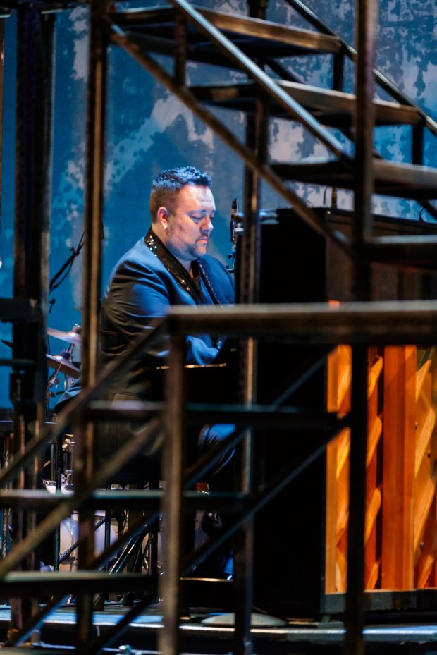 "Music Director Sean Kana at rehearsal Tuesday, May 30, 2017, for ""Smokey Joe's Cafe."" Produced by Broadway By The Bay, the show is to run June 2 through June 18, 2017, at the Fox Theatre in Redwood City. (Mark Kitoaka / Broadway By The Bay)"