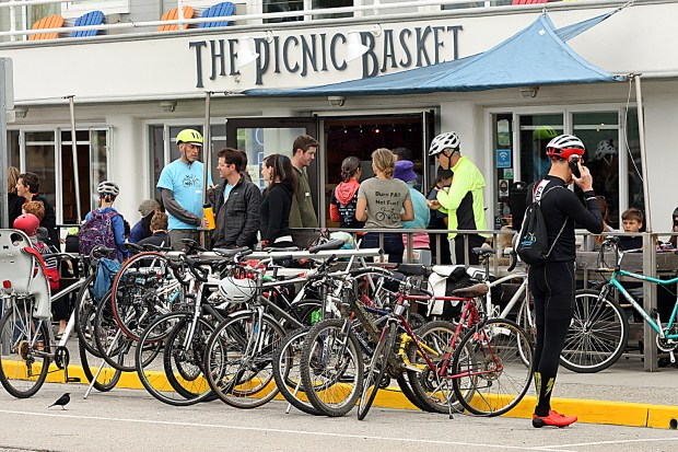 The Picnic Basket on Beach Street was a hub of two-wheeled activity for Bike To Work Day on Thursday. (Dan Coyro -- Santa Cruz Sentinel)