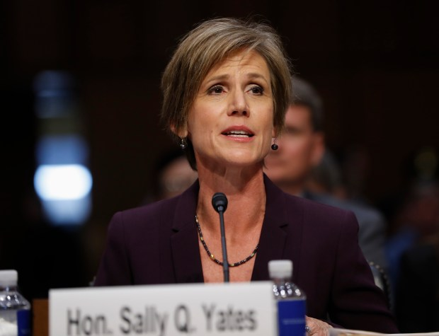 "Former acting Attorney General Sally Yates testifies on Capitol Hill in Washington, Monday, May 8, 2017, before the Senate Judiciary subcommittee on Crime and Terrorism hearing: ""Russian Interference in the 2016 United States Election."" (AP Photo/Pablo Martinez Monsivais)"