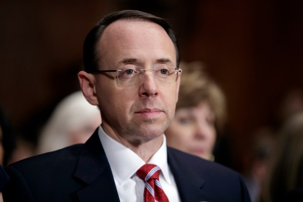 Then-Deputy Attorney General-designate Rod Rosenstein, March 2017. (AP Photo/J. Scott Applewhite, File)