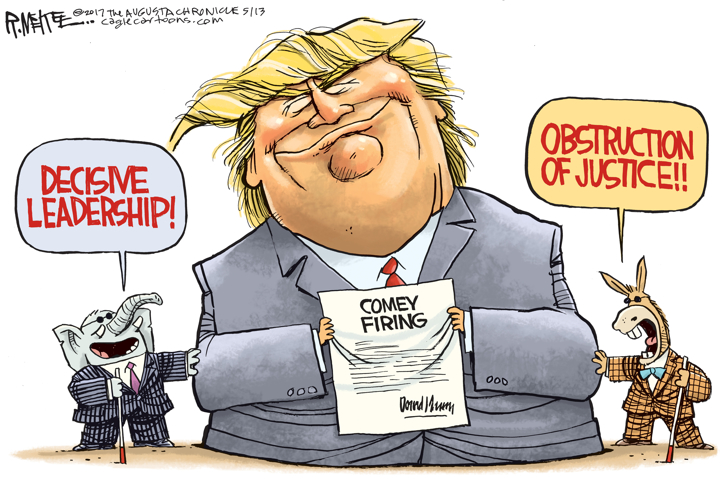 Image result for cartoon trump comey obstruction of justice