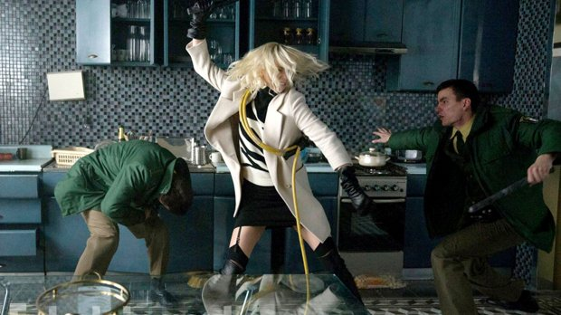 "Charlize Theron, center, in ""Atomic Blonde."" (Jonathan Prime/Focus Features)"