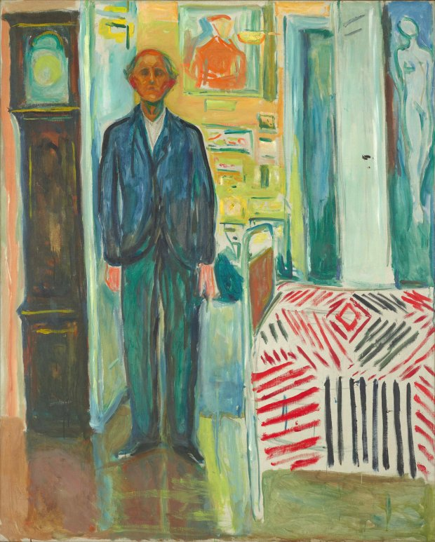 "Edvard Munch, ""Self-Portrait Between the Clock and the Bed,"" 1940–43.(Munch Museum, Oslo)"