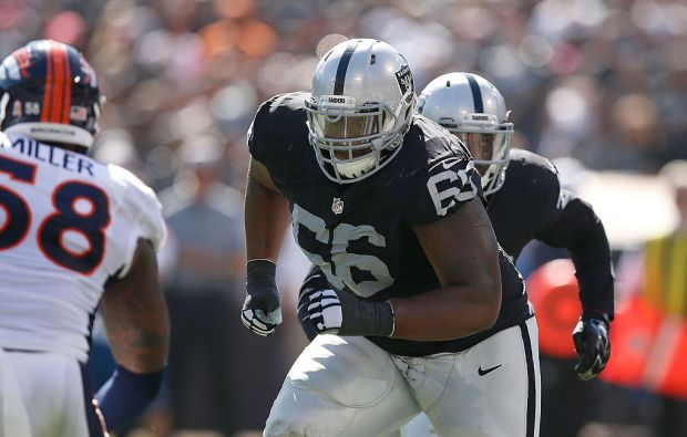 OAKLAND, CA - OCTOBER 11: Gabe Jackson #66 of the Oakland Raiders defends against the Denver Broncos in the second quarter at O.co Coliseum on October 11, 2015 in Oakland, California. (Photo by Ezra Shaw/Getty Images)