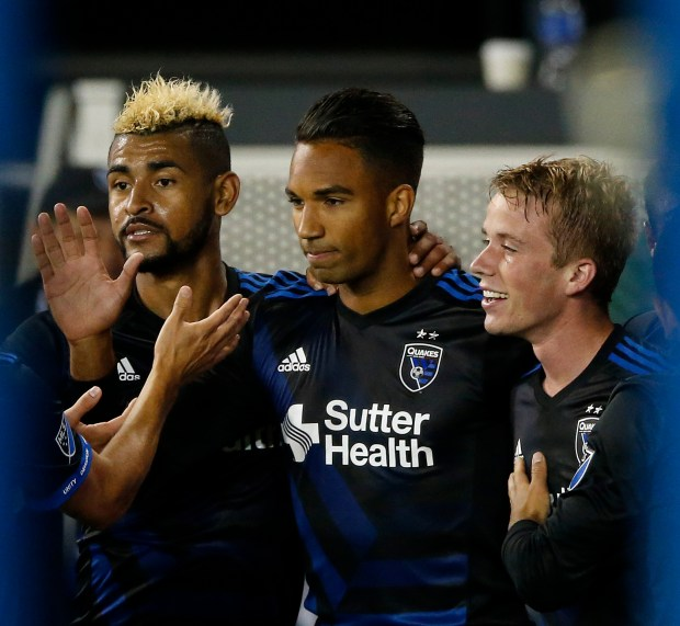 San Jose Earthquakes midfielder Anibal Godoy (30) celebrates with San Jose Earthquakes forward Danny Hoesen (9), who scored winning goal, and San Jose Earthquakes midfielder Jackson Yueill (14), right, against the Seattle Sounders FC in the second half during the U.S. Open Cup Round of 16th at Avaya Stadium, California., on Wednesday, June 28, 2017. California on Wednesday, June 25, 2017. (Josie LepeŽ/Bay Area News Group)
