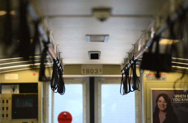 One of several newly installed security cameras inside of a train car at the BART yard in Concord, Calif., on Wednesday, June 28, 2017. In the wake of recent crimes on BART and the revelation that 70 percent of the onboard security cameras were indeed fake, BART has now finished installing working security camera on every train car. (Dan Honda/Bay Area News Group)
