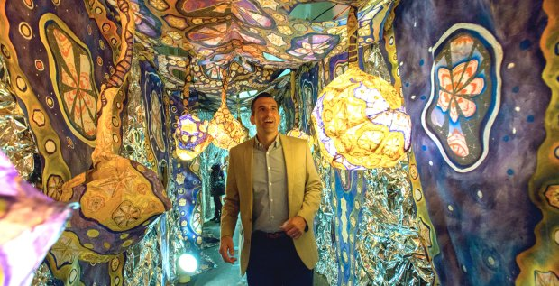 "Laurie Shapiro's immersive, multimedia cave will be on view at the San Jose Museum of Quilts & Textiles through June 25. Mayor Sam Liccardodid a ""walk-through"" after the artwork was installed. (Octavio Martinez)"