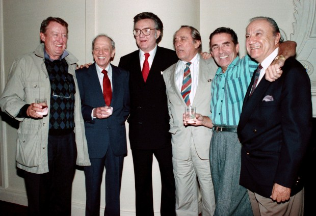 """1990: Steve Allen, third from left, and some of the original cast members of the popular 1950's television show, """"Steve Allen Show,"""" from left: Tom Poston, Don Knotts, Allen, Louis Nye, Pat Harrington Jr., and Bill Dana. (AP Photo/Kevork Djansezian, File)"""