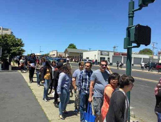 A line of roughly 3,000 hopefuls wound around two blocks downtown at Sunday's casting call of the popular Netflix series, '13 Reasons Why,' with a second season set for filming starting next week in Vallejo, Sebastopol and San Rafael. (RICH FREEDMAN — TIMES-HERALD)