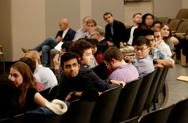 Hacking for defense students are photographed during presentation at Bishop Auditorium at Stanford University, Stanford, California., on Tuesday, June , 2017. Hacking for Defense, students develop technology for military/intelligence. (Josie Lepe/Bay Area News Group)